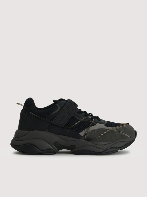 Mesh Chunky Sneakers, Black, hi-res
