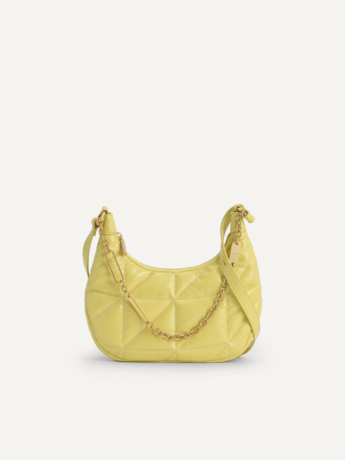 Crinkled Chain Shoulder Bag, Yellow, hi-res