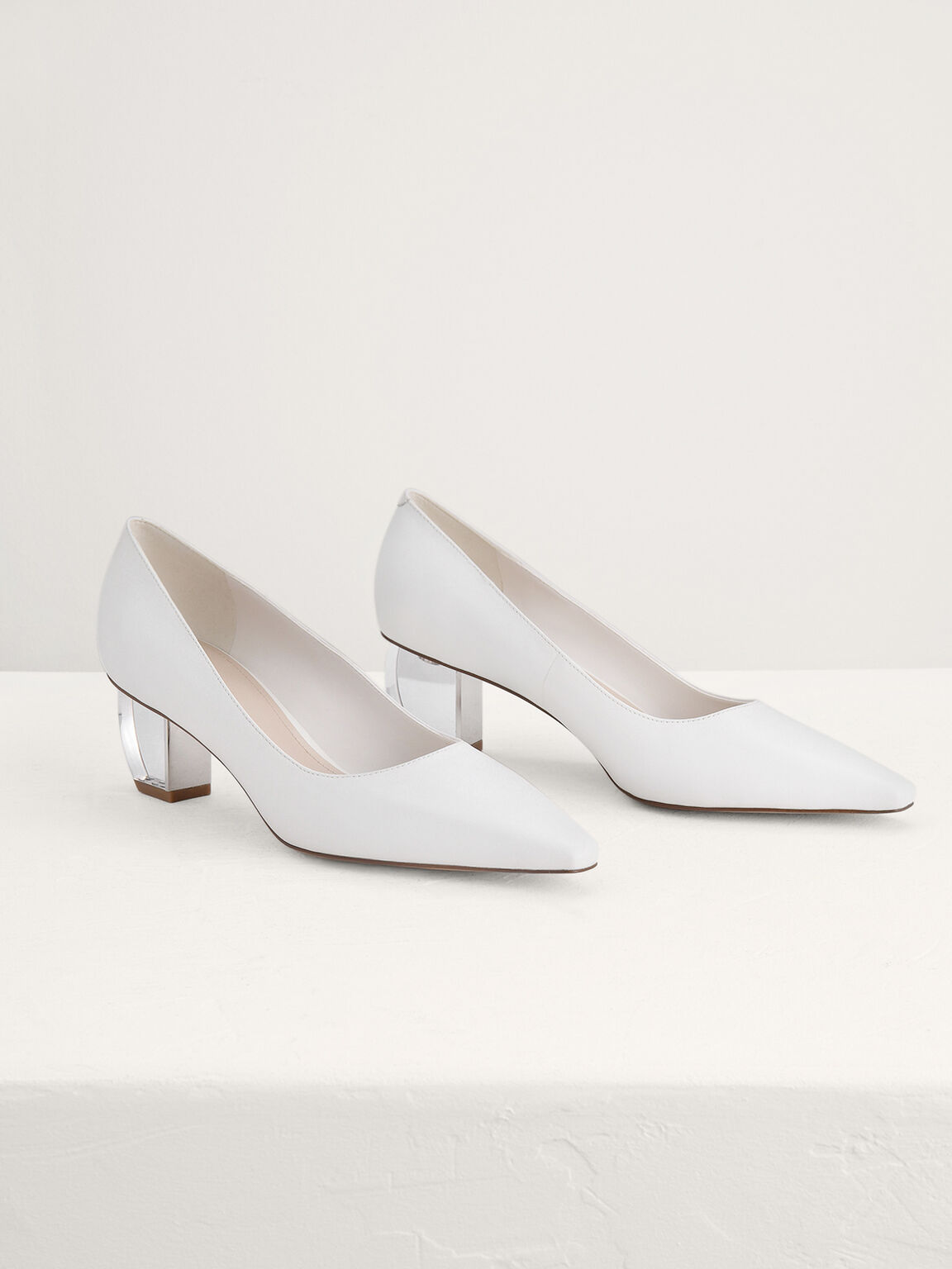 Leather Pumps with Lucite Heels, White, hi-res