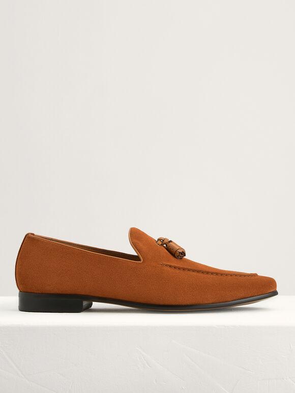 Suede Tasselled Loafers, Cognac, hi-res