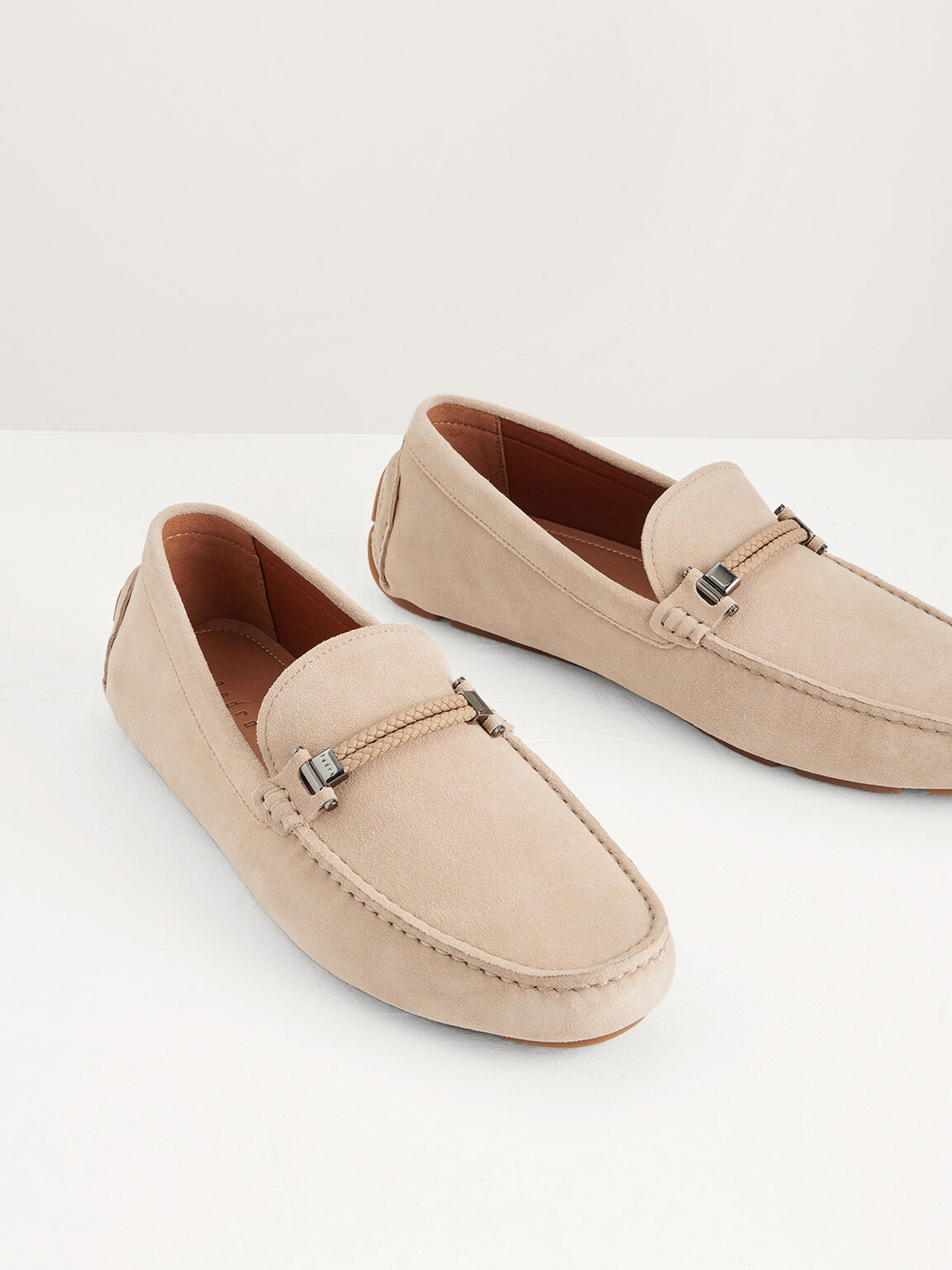 Bit Suede Moccasins with Braided Detail, Sand, hi-res