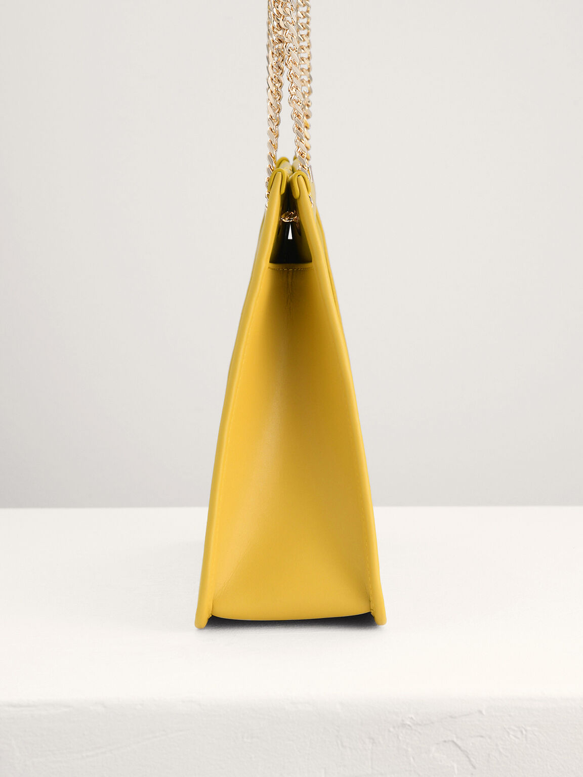 Leather Qulited Tote, Yellow, hi-res