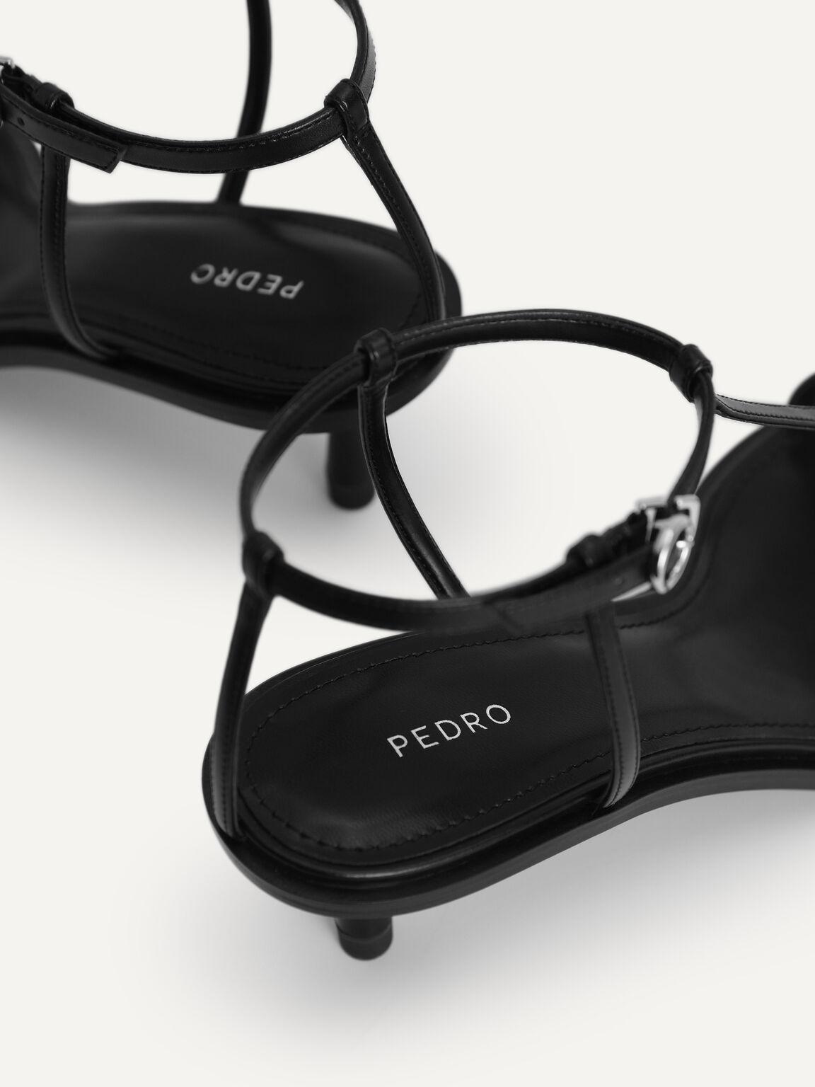 腳踝綁帶高跟涼鞋, 黑色, hi-res