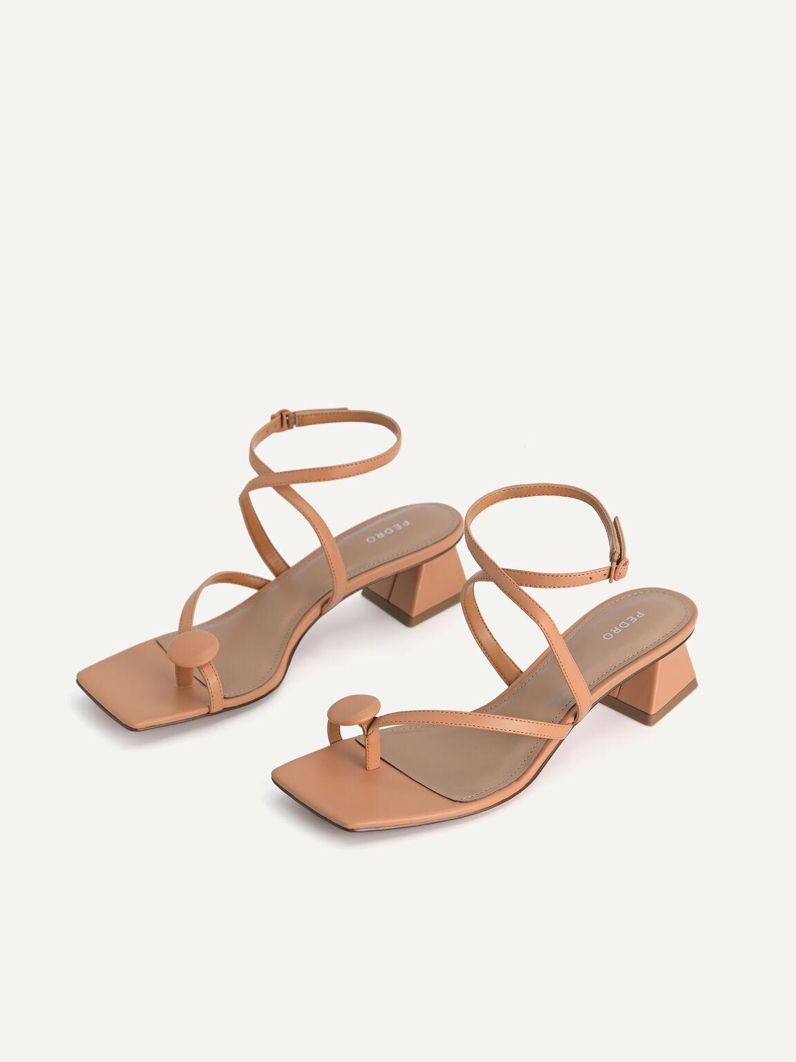 Strappy Toe-Loop Heeled Sandals, Camel, hi-res