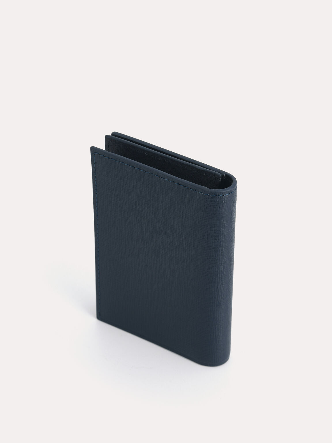 織紋皮革雙折疊卡包, 海军蓝色, hi-res