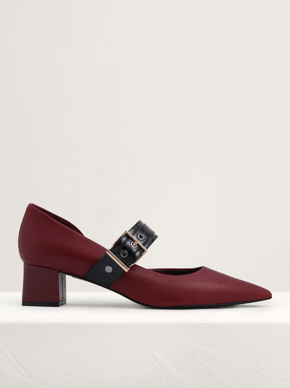 Buckle Strap Leather Mary Jane Pumps, Wine, hi-res