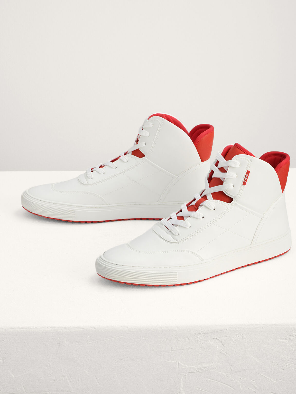 High-Top Sneakers, White, hi-res