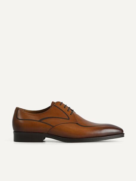 Leather Derby Shoes, Cognac, hi-res