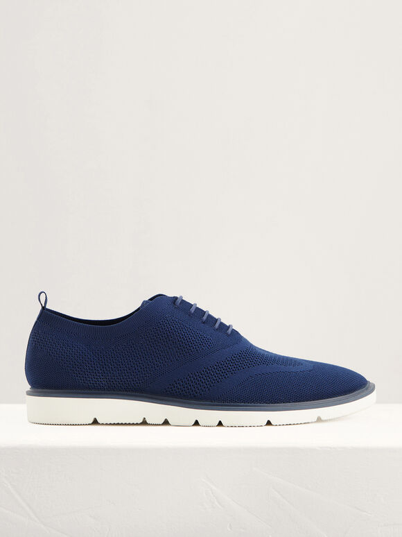 Mesh Oxford Shoes, Navy, hi-res