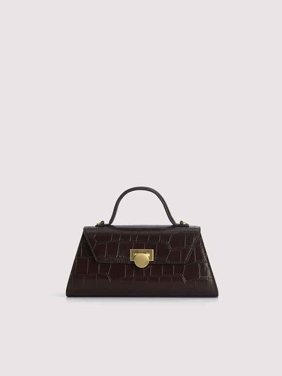 Croc-Effect Trapeze Top Handle Bag, Mahogany, hi-res