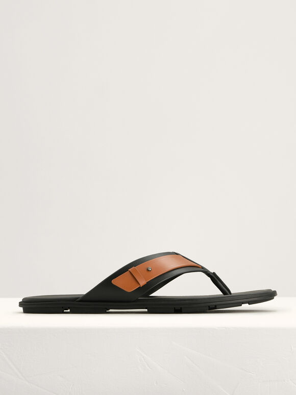 Buckled Thong Sandals in Two-Tone, Black, hi-res