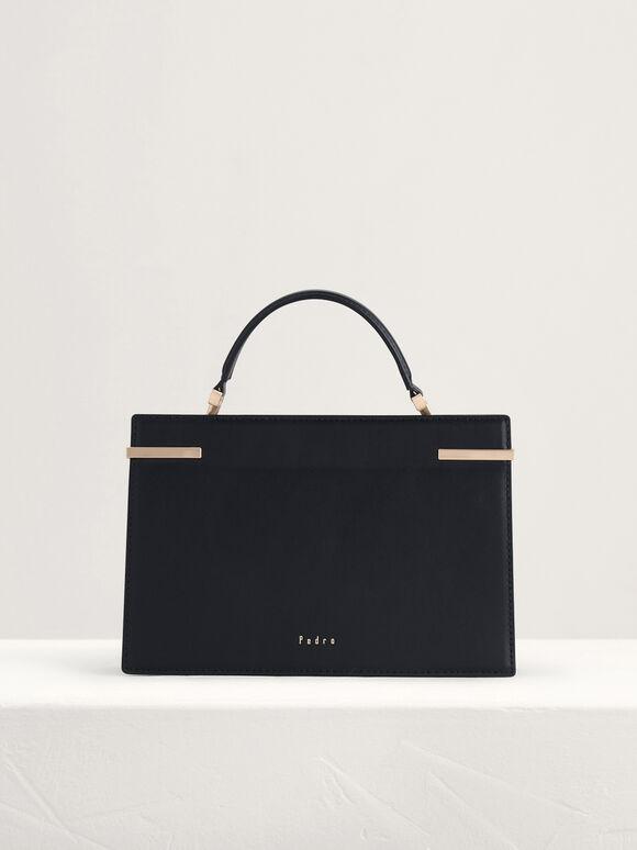 Mini Top Handle Leather Bag, Black, hi-res