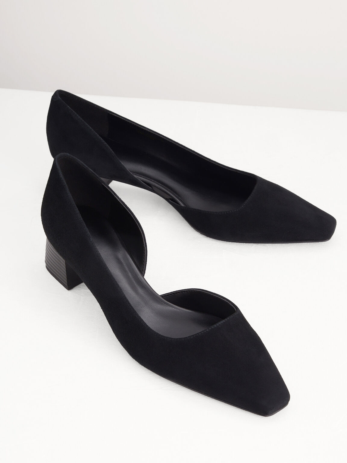 Suede Pumps, Black, hi-res