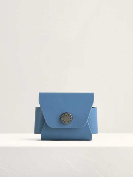 Leather Airpods Case, Blue, hi-res
