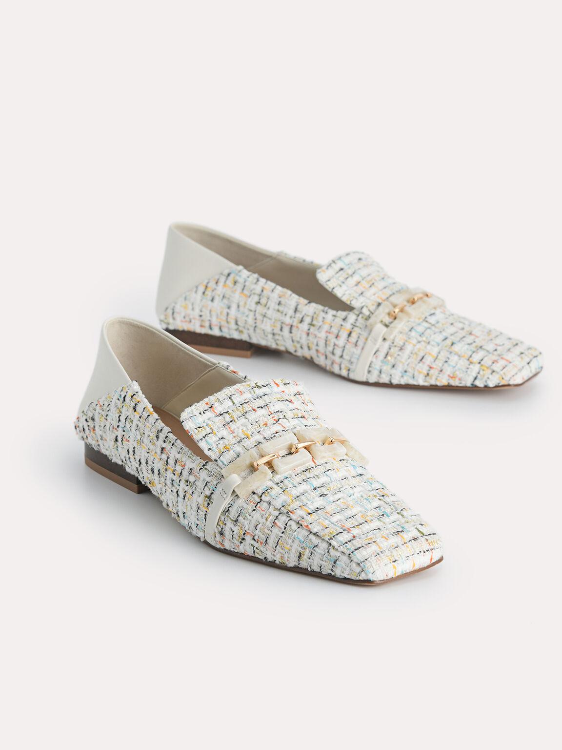 Tweed Square Toe Loafers, Multi, hi-res