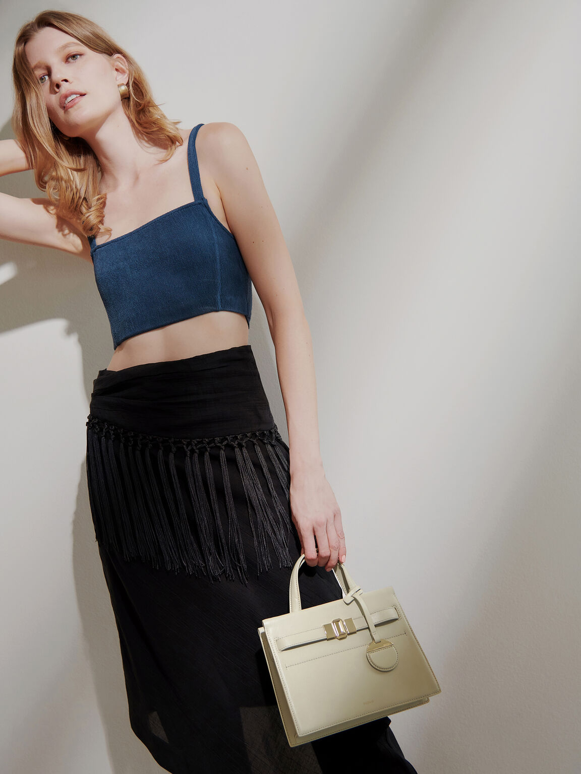 Leather Small Top Handle Bag, Taupe, hi-res
