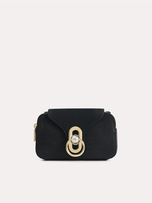 Mini Textured Leather Shoulder Bag, Black, hi-res