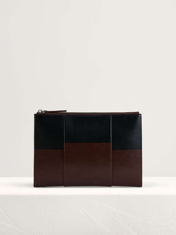 Casual Two-Tone Clutch, Dark Brown, hi-res