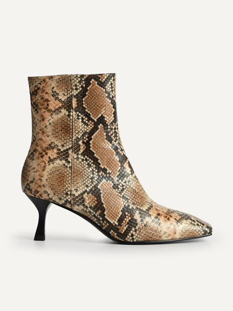 Snake-Effect Square-Toe Heeled Ankle Boots, Multi, hi-res