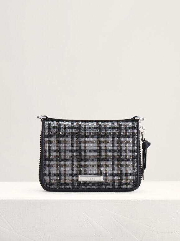 Woven Zip Wallet, Black, hi-res