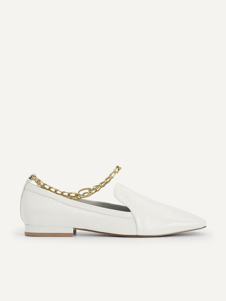 Chain-Strap Leather Loafers, Chalk, hi-res