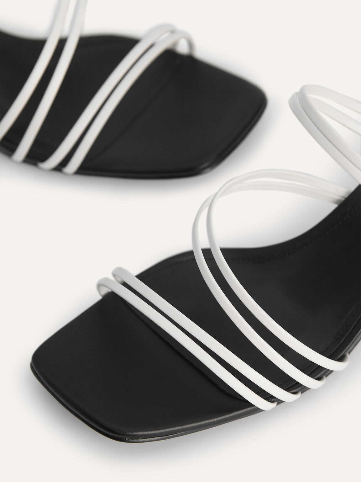 Strappy Heeled Sandals, White, hi-res