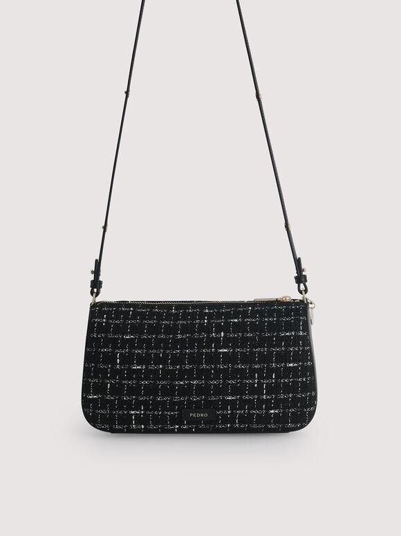 Tweed Top Handle Bag with Pearl Detailing, Black, hi-res