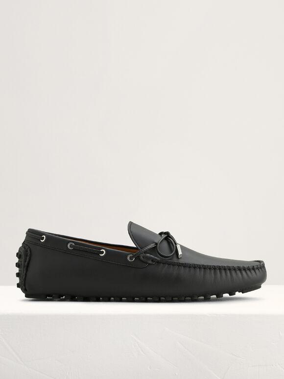 Bow Leather Moccasins, Black, hi-res