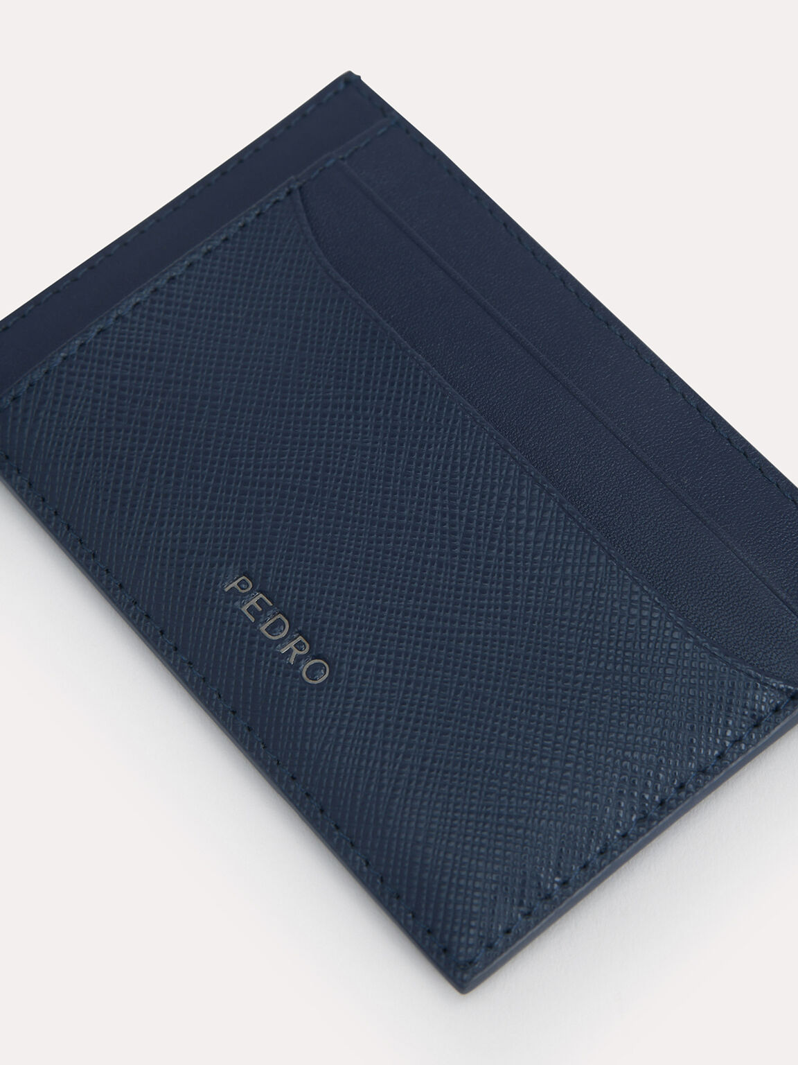 Textured Leather Cardholder, Navy, hi-res