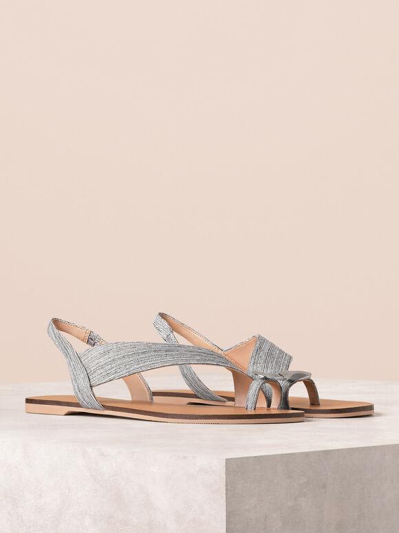 Embellished Ring Toe Sandals, Silver, hi-res