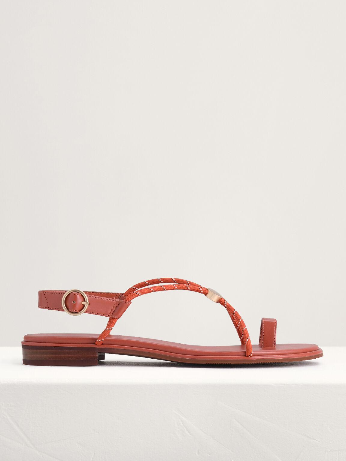 Cording Toe-Ring Sandals, Brick, hi-res