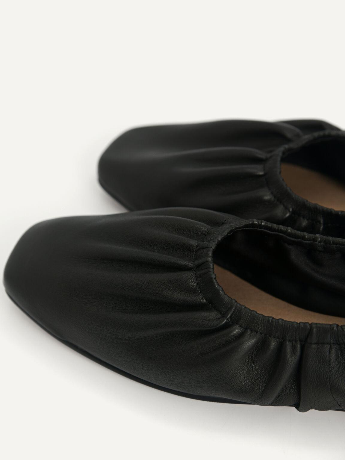 Ruched Leather Flats, Black, hi-res