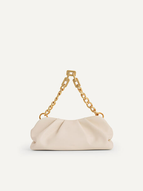 Chained Clutch, Beige, hi-res