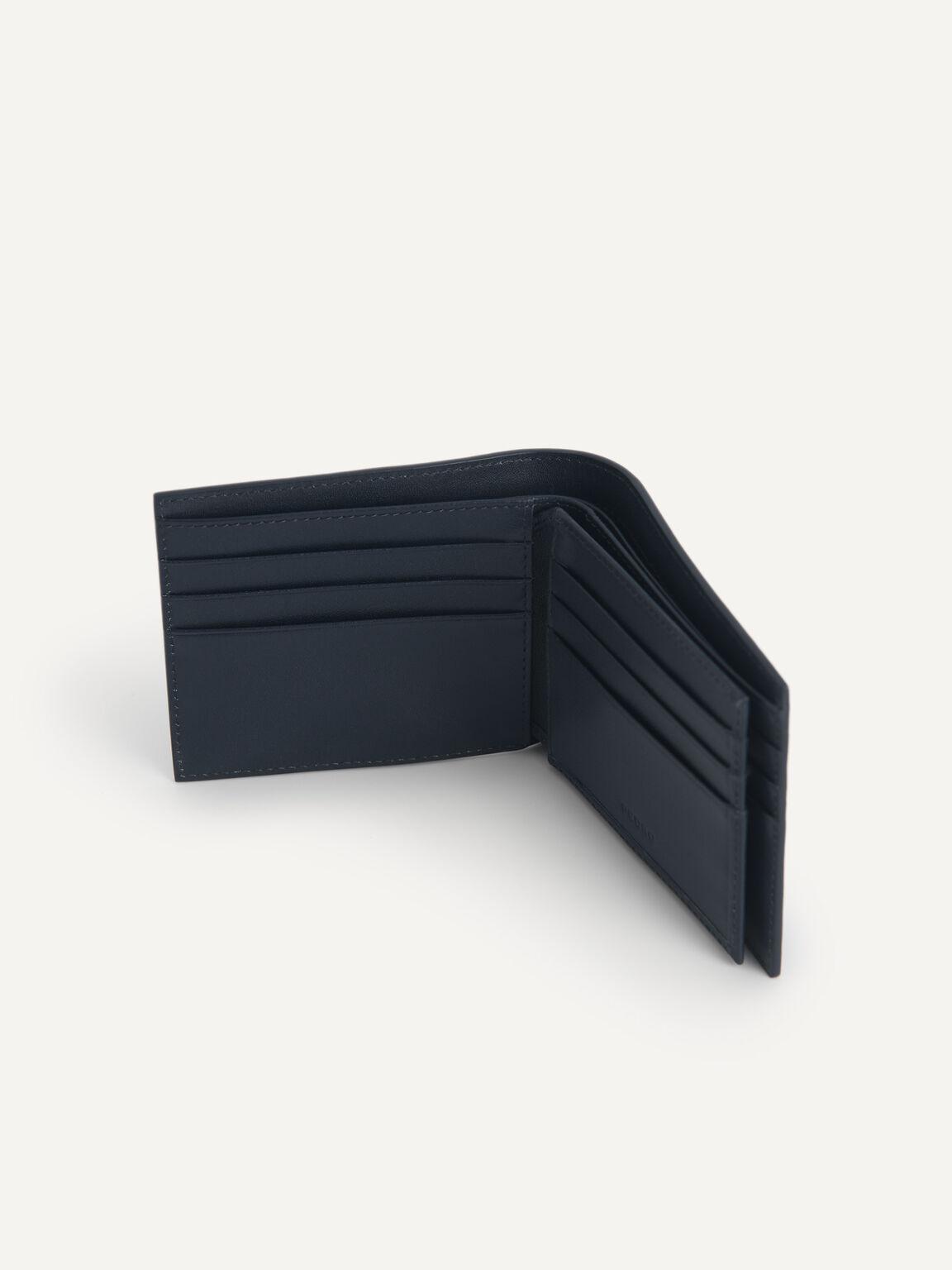 紋理牛皮兩折皮夾, 海军蓝色, hi-res