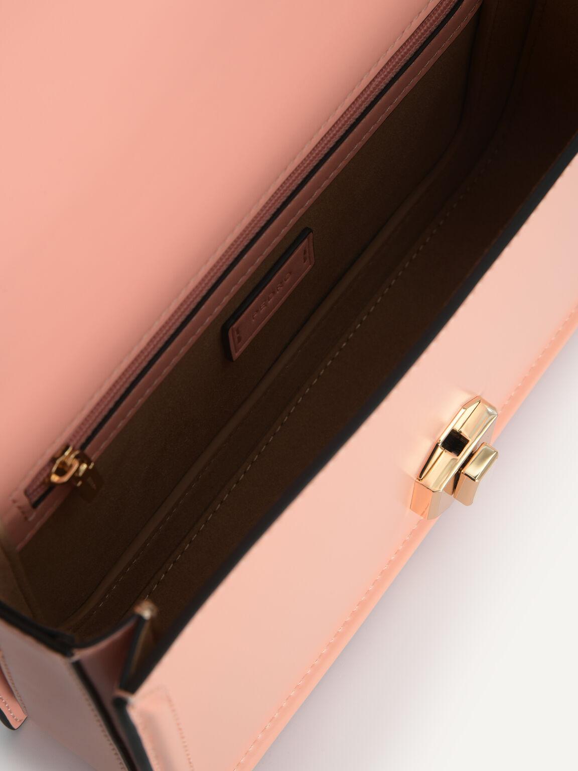 Leather Shoulder Bag, Blush, hi-res