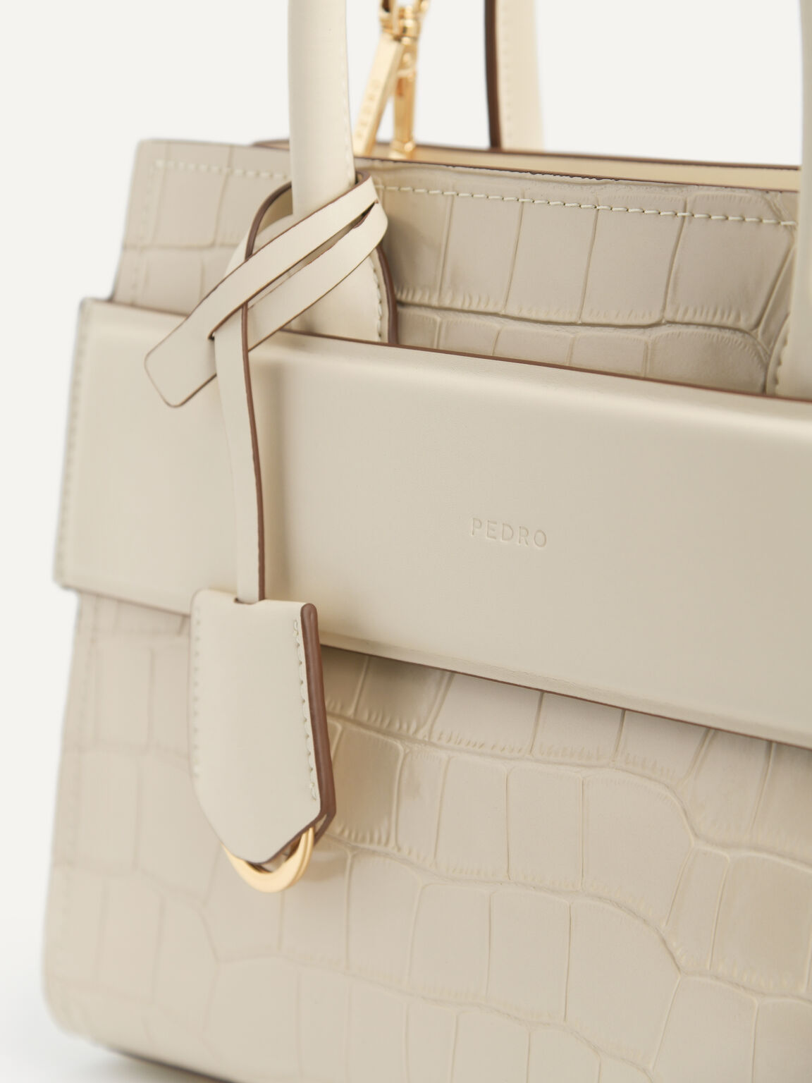 Croc-effect Leather Tote, Nude, hi-res