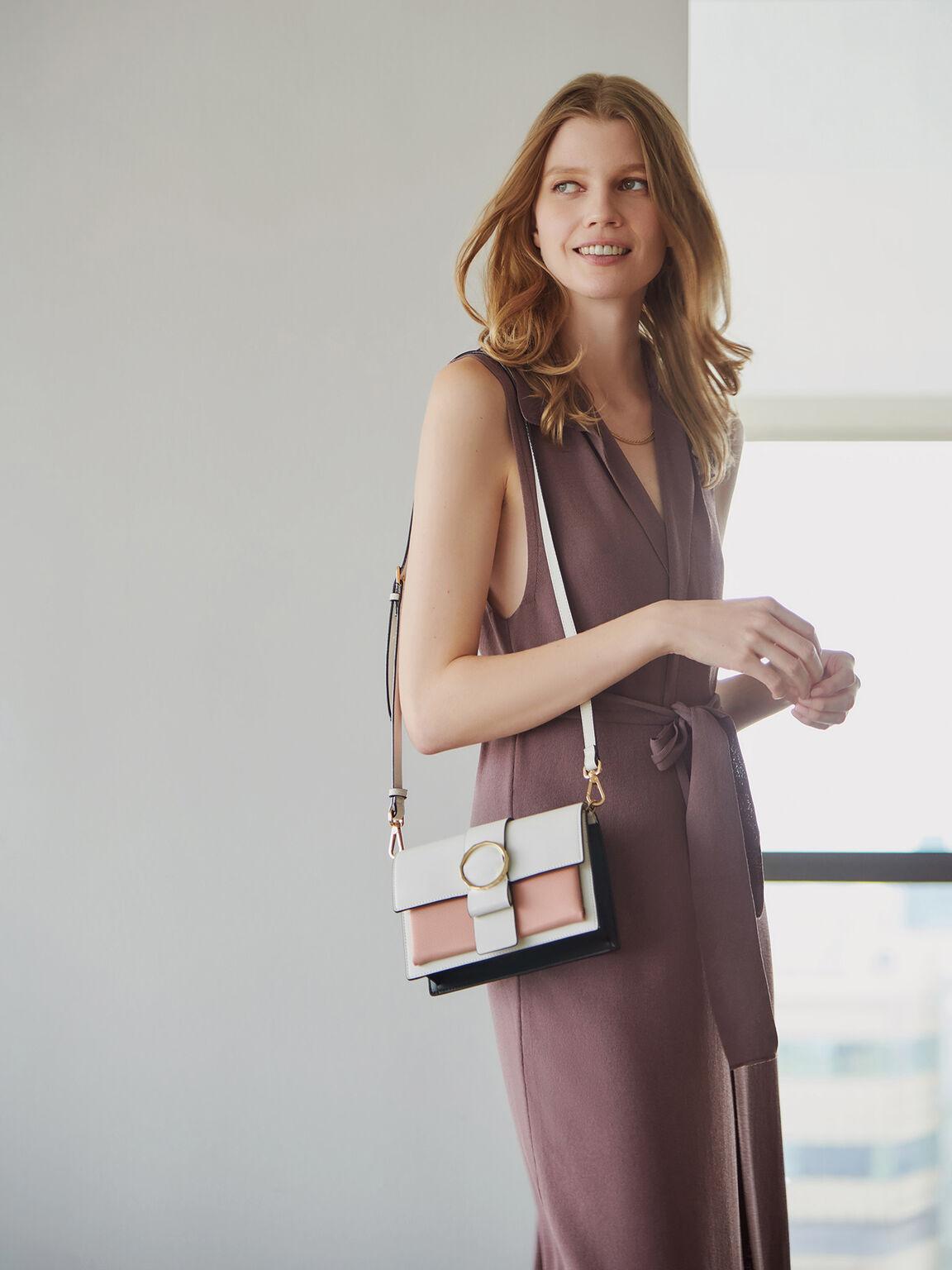 Buckle Flap Shoulder Bag, Multi, hi-res