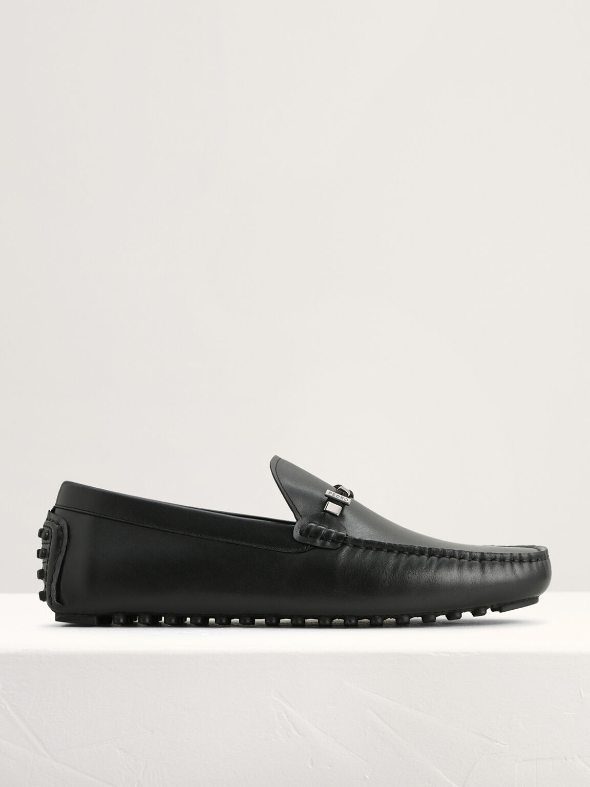Leather Moccasins with Rope Detailing, Black, hi-res