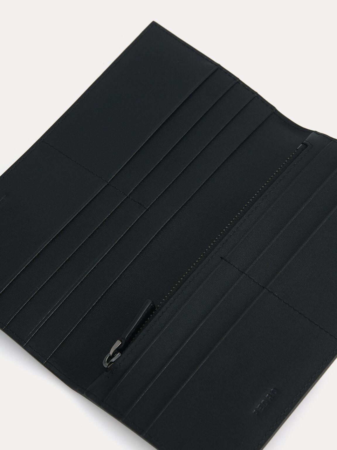 Long Textured Leather Wallet, Black, hi-res
