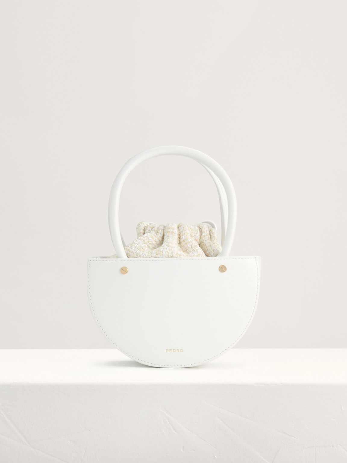 Tweed Top Handle Bag, White, hi-res