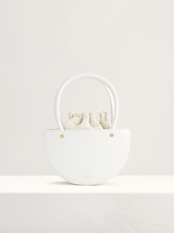 Tweed Top Handle Bag, White, hi-res