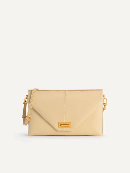 Envelope Leather Shoulder Bag, Sand, hi-res