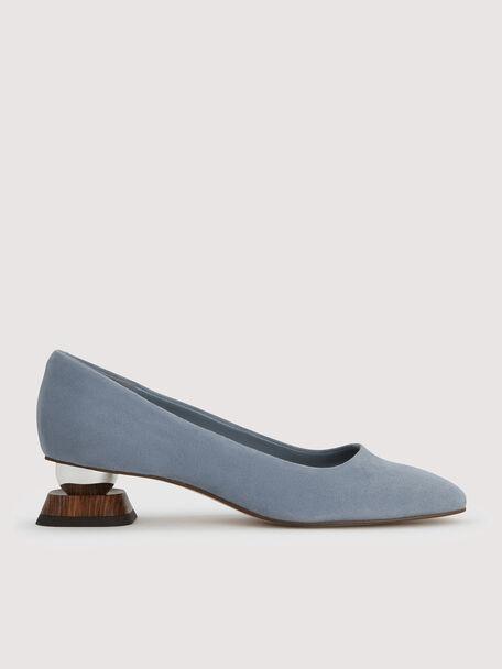 Suede Square Toe Heels, Slate Blue, hi-res