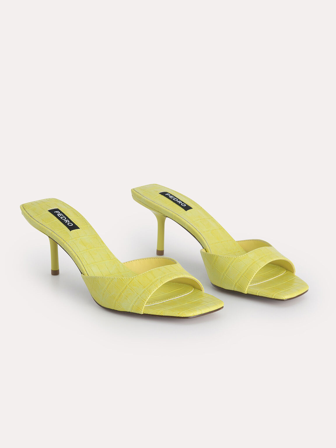 Croc-Effect Heeled Sandals, Yellow, hi-res