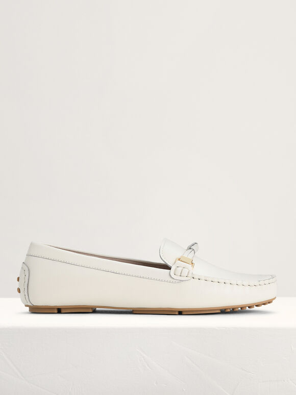 Knotted Leather Moccasins, White, hi-res