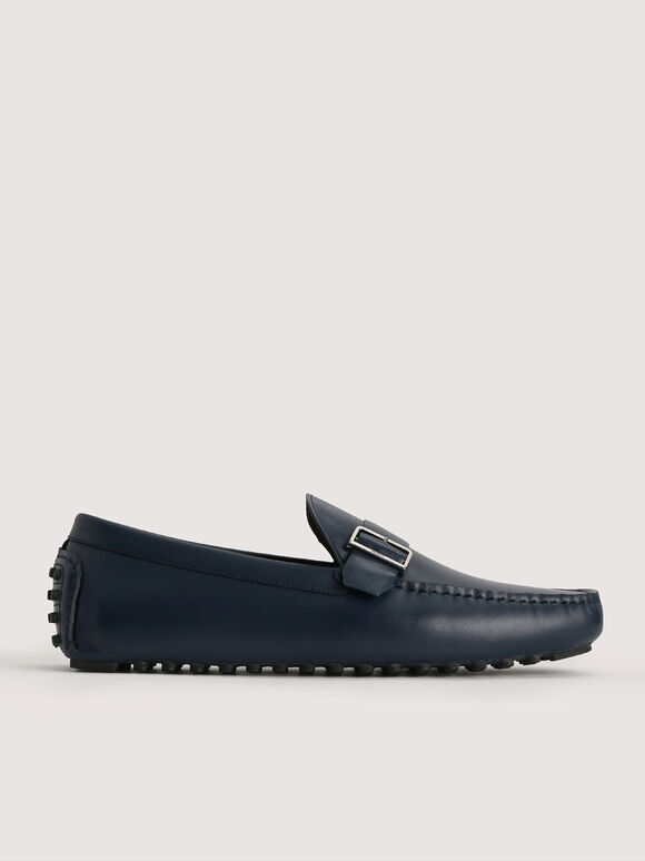 Buckled Leather Moccasin, Navy, hi-res