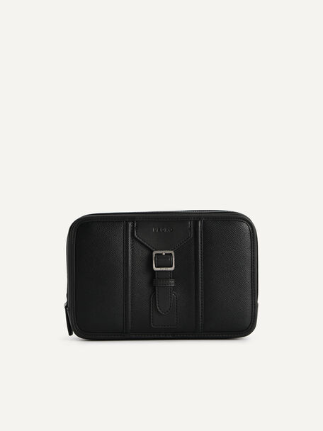 Buckled Textured Leather Clutch, Black, hi-res