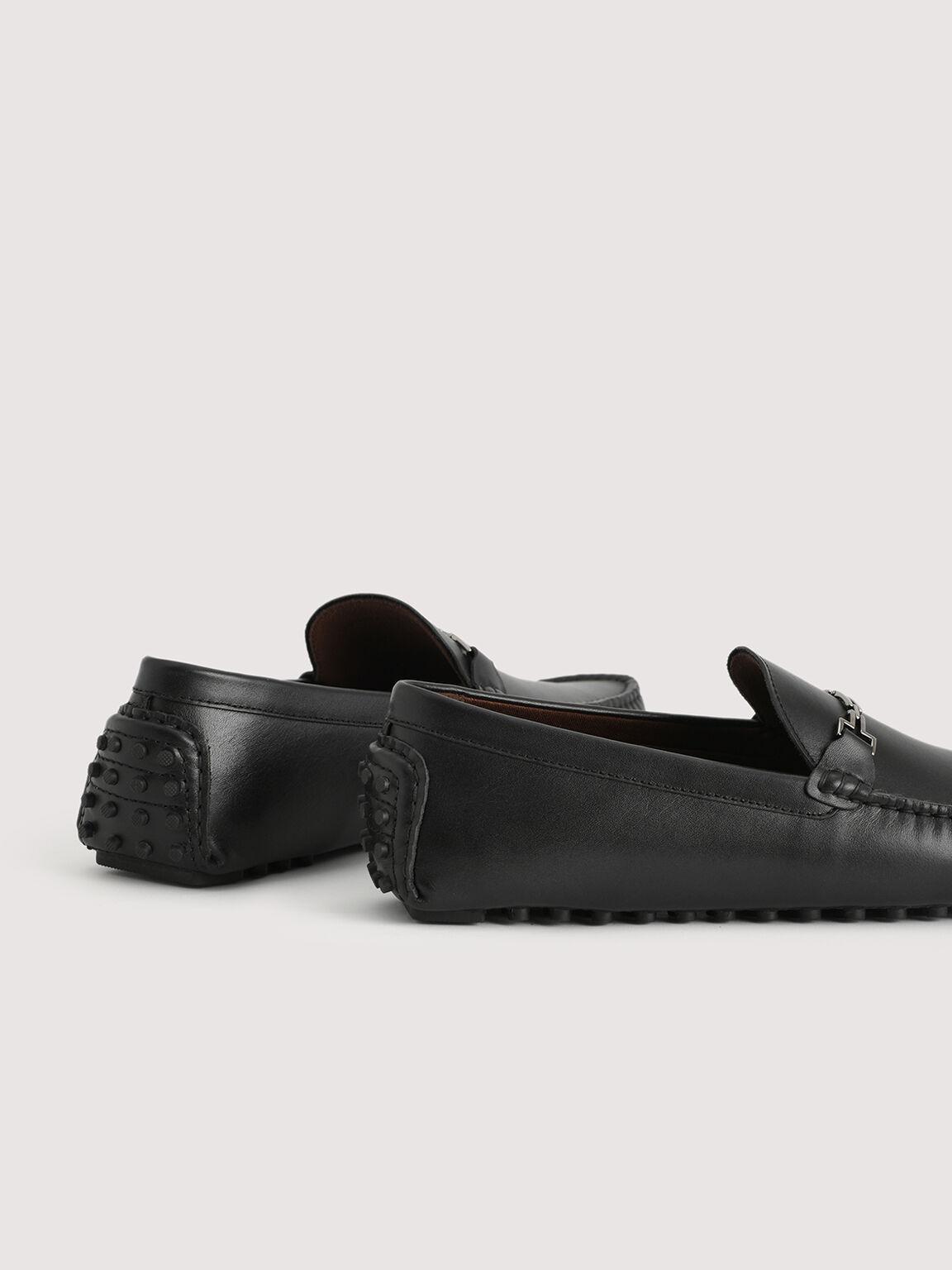 Pebbled Leather Moccasin, Black, hi-res