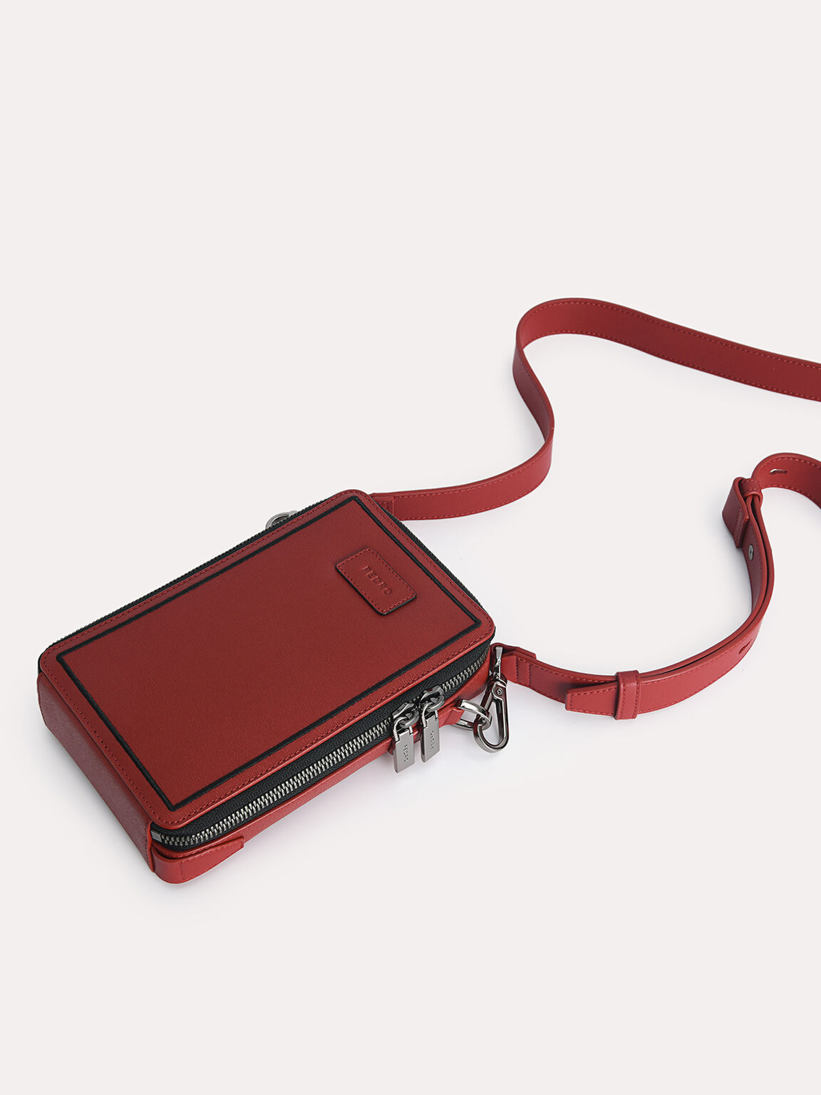 Textured Leather Phone Pouch, Red, hi-res