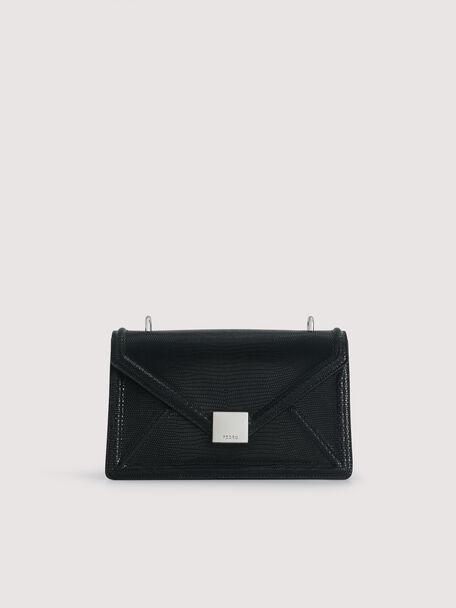 Lizard-Effect Leather Envelope Shoulder Bag, Black, hi-res